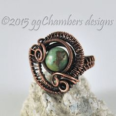 Antiqued Copper and Royston Boulder Turquoise Woven Wire Ring - Size 6.5