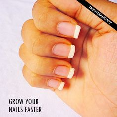 Everyone wants their nails to grow fast and strong. Slow or poor nail growth can also be accompanied by brittle nails, breakage, splitting and other nail problems. Here are some of the remedies tha… Grow Nails Faster, How To Grow Nails, Diy Nails, Cute Nails, Pretty Nails, Toenail Fungus Vinegar, Nail Problems, Damaged Nails, Brittle Nails