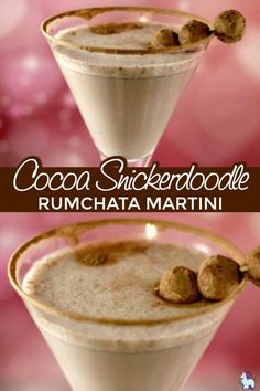 Cocoa Snickerdoodle RumChata Martini Recipe via Love snickerdoodle cookies and mixed drinks? Definitely give this dessert cocktail a try. Rumchata Drinks, Rumchata Recipes, Martini Recipes, Alcohol Drink Recipes, Eggnog Drinks, Bartender Recipes, Fireball Recipes, Bourbon Drinks, Drink Recipes