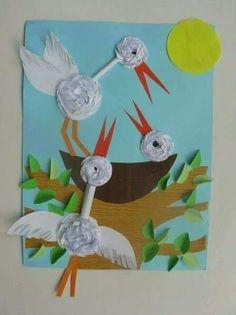 Okul öncesi Bird Crafts, Animal Crafts, Diy And Crafts, Crafts For Kids, Arts And Crafts, Paper Crafts, Spring Art, Spring Crafts, Art Activities For Kids