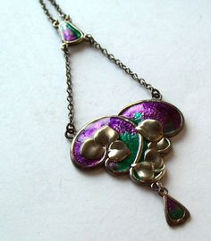 CHARLES HORNER STERLING SILVER AND ENAMEL ART NOUVEAU PENDANT PERFECT ENAMEL
