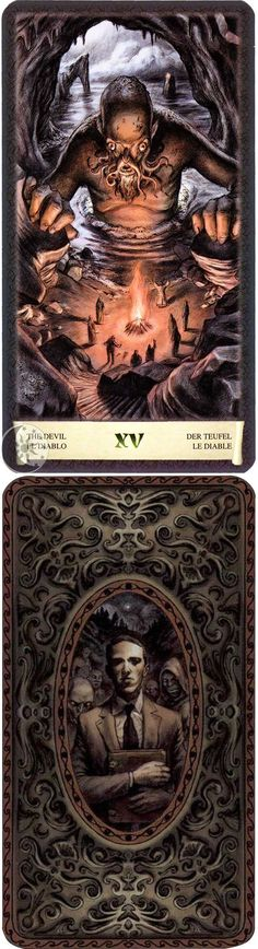 Major Arcana: The Devil - XV (front and back)    [Image: Dark Grimoire Tarot by Lo Scarabeo Tarot. For purchase from the publisher: http://www.loscarabeo.com/lang-en/tarocchi-culturali/95-tarocchi-del-necronomicon.html |   For Purchase on Amazon (USA): http://www.amazon.com/Dark-Grimoire-Tarot-English-Spanish/dp/0738713848      | Author and Artist: Michele Penco | Web: http://michelepenco.blogspot.com/ ]