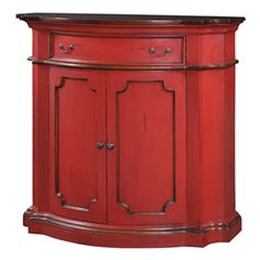 Roosevelt 2 Door Bow Front Sideboard - Red Distressed and Aged Honey