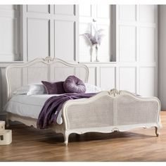 Frank Hudson Ivory Chic Chalk With Cane King Size Bed [BD 2031] : Beau Decor