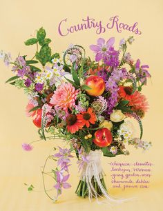 """""""Country Roads"""" bouquet with echinacea, clematis, larkspur, veronica, spray garden roses, chamomile, dahlia, passion vine, and peaches 