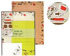 envelope ホワイトとクラフトの素材の違う2種の紙を用いたレターセットです。 可愛い文房具デザイン。ミニカード付。