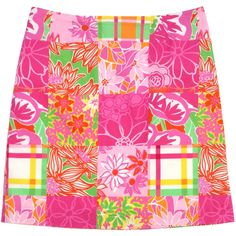 Pre-owned Lilly Pulitzer Pink & Multi-Color Floral Print Cotton Skirt (405 CNY) ❤ liked on Polyvore