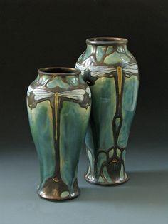 Art nouveau dragonfly vases -   wheelthrown, carved, glazed porcelain