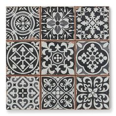 Kitchen Backsplash - Merola Tile Faenza Azul 13 in. x 13 in. Ceramic Floor and Wall Tile sq. / case)-FPEFAEA - The Home Depot B&w Wallpaper, Kitchen Wallpaper, Small Tiles, Black Tiles, Black And White Backsplash, White Tiles, Deco Design, Tile Design, Stone Tiles
