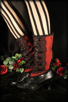 Red and Black Spats Steampunk Victorian LaceUp Red  by Hexotica, $89.99