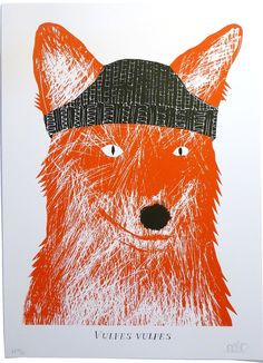 """Two-colour silkscreen print by Alexander Ponting from 'The Fantatic Mr Fox"""".    500mm x 700mm"""
