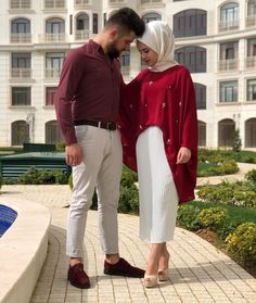 Cute Muslim Couples, Muslim Girls, Muslim Women, Couple Outfits, Modest Outfits, Stylish Outfits, Matching Couples, Matching Outfits, Modele Hijab