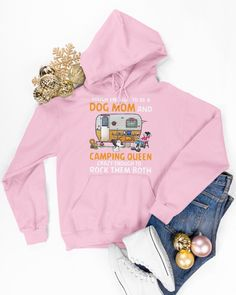 Tough enough to be a dog mom and camping queen tee - Light Pink cricut camping, confirmation gifts, thankyou gifts #dishscrubber #dishscrubbers #dishscrub, dried orange slices, yule decorations, scandinavian christmas Dried Orange Slices, Confirmation Gifts, Yule Decorations, Camping Places, Scandinavian Christmas, Dog Mom, Hooded Sweatshirts, Tee Shirts, Cricut