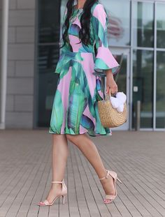 Trinity palm print dress, pom pom basket bag, luminate blush nude sandals, bell sleeve dress, petite fashion blog, summer outfit - click the photo for outfit details!