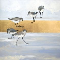 """""""Dusting"""" by Ellen Welch Granter. Oil and Gold Leaf on Canvas, 24""""x24"""". Available at www.maine-art.com."""