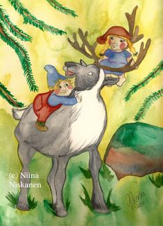 Original Illustration Elves and Reindeer Watercolor Painting Original Art Nursery Decor Art for Children Fantasy Fairy Tale Art Animals