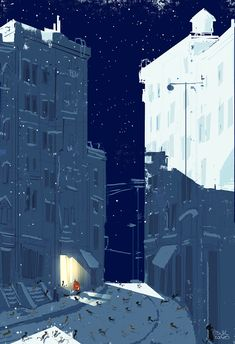 """""""Here Kitty, Kitty"""" by Pascal Campion (Digital, Night Illustration, Graphic Illustration, Street Art, Pascal Campion, Matte Painting, Illustrations, Pretty Art, Monuments, Pretty Pictures"""