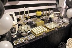 Celebrate with Cake!: Black, White and Gold Dessert Table (Click on post for more pictures)