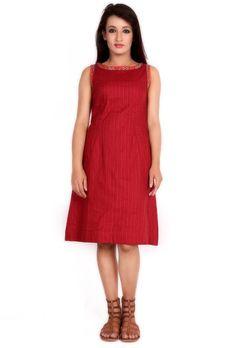 Maroon block printed cotton dress - Dresses - Apparel   Tijori