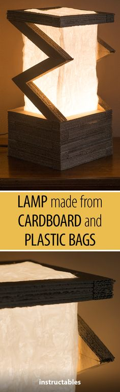 Upcycled Lamp from Cardboard and Plastic Bags #lighting