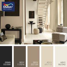 Цветовая палитра красок DULUX  Стильный бежевый. Оттенки кофе и кофе с молоком великолепно сочетаются между собой в разных вариациях.