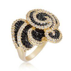 Black Floral Ring for Women