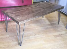 Coffee Table Scaffold Boards Hairpin Legs - All About Hairpin Leg Coffee Table, Hairpin Legs, Scaffold Boards, Scaffold Table, Wooden Tables, Metal Tables, Craft Shed, Scaffolding, Hair Pins