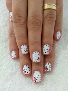 Cute Manicures - Pink and Black Nail Designs - Valentines Nails - The Best Valentines Nail Designs - Easy and Cute Valentines Day Nails, Heart Nail Designs and Nail Color Ideas Cute Nail Art Designs, Heart Nail Designs, Dot Nail Designs, Nails Design, Heart Nail Art, Heart Nails, Heart Art, Nail Art Instagram, Instagram Feed