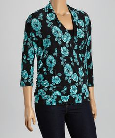 Look what I found on #zulily! Black & Jade Roses Surplice Drape Top - Plus #zulilyfinds