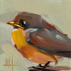 Baby Robin no. 8 original bird oil painting by Angela Moulton 4 x 4 inch