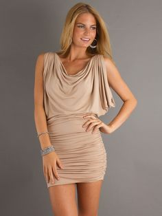 Short ruched dress and draping neckline with Ruched Waistline