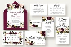 Bold & Stylish Floral Wedding Suite Templates Bold & Stylish Floral Wedding Suite includes: Wedding Invitation, RSVP, Information card, Save T by Knotted Design Wedding Invitation Suite, Wedding Suite, Wedding Tips, Wedding Cards, Diy Wedding, Wedding Events, Dream Wedding, Perfect Wedding, Wedding Planning