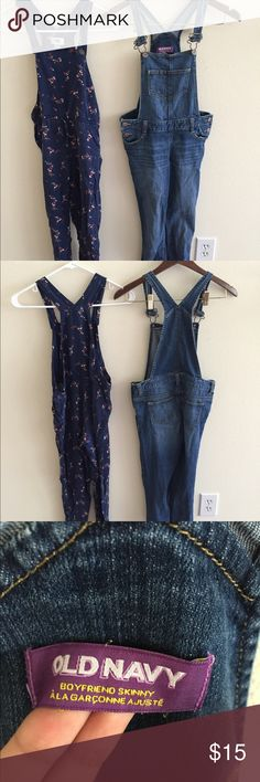 Bundle of overalls Denim and floral fabric overalls Old Navy Jeans Overalls
