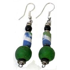 Green Beaded Earrings Beautifully handcrafted by #FairTrade artisans  #FreeShipping #Gift