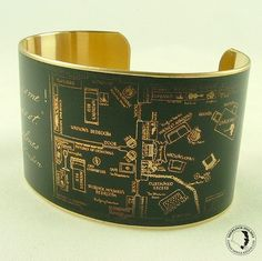 Brass cuff with vintage illustration of the floor plan of Sherlock Holmes and Watson's 221B Baker Street flat
