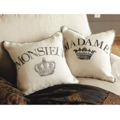 Madame and Monsieur Burlap Pillows