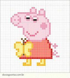 Cross Stitch Patterns Peppa Pig - As crianças adoram! Perler Bead Disney, Perler Bead Art, Perler Beads, Hama Beads Patterns, Beading Patterns, Embroidery Patterns, Cross Stitch For Kids, Simple Cross Stitch, Beaded Cross Stitch