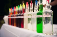 Snow Cones for the reception in flavors to please kids AND adults!   http://ncweddingministerblog.blogspot.com/2013/07/kate-and-angel-wed-at-het-landhuis-in.html