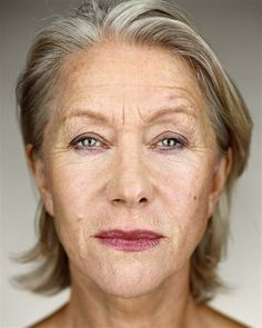 Helen Mirren: so wonderful to see a woman aging gracefully. She is still beautiful, not any less than the trout pouted,cheek implanted, frozen foreheads that I see on celebrities.