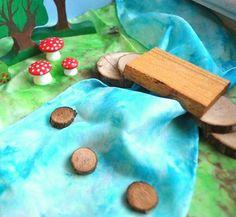Wooden Toy, PlaySilk Creek and Natural Bridge Set - Landscape Play / Waldorf Toys. $30.00, via Etsy.