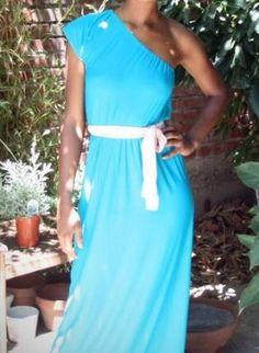 SALE $40 www.taylrzjoynt.com ONE SHOULDER ROMAN DRESS (TEAL COLOR) **FREE SASH W/ PURCHAS,  Dress, one shoulder  jersey maxi long length, Casual