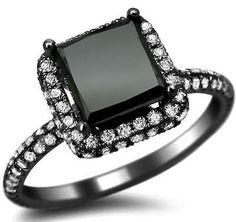 2.56ct Black Princess Cut Pave Diamond Engagement Ring 18k Black Gold / Front Jewelers