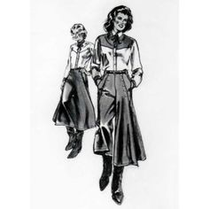 Misses' Western Riding Skirt Pattern - Sizes S-x-l (6 - 20) Included