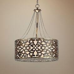 "Possini Arrezo Filigree 20"" Wide Silver Pendant Light ($500) ❤ liked on Polyvore"