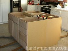 Diy kitchen island from stock cabinets diy home pinterest diy build your own kitchen island workwithnaturefo