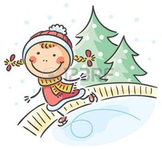 Illustration of Little girl winter activities: skating vector art, clipart and stock vectors. Cartoon Kids, Girl Cartoon, Winter Kids, Winter Activities, Baby Girl Dresses, Drawing For Kids, Embroidery Art, Easy Drawings, Vector Art