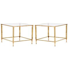 1stdibs | Art Deco Pair of Brass & Glass Side Tables