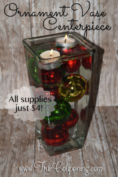 Just $4 is all it takes to make this beautiful DIY Ornament Vase Centerpiece! Everything you need can be found at the dollar store!