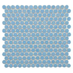 Merola Tile Hudson Penny Round Light Blue 12 in. x 12-5/8 in. x 5 mm Porcelain Mosaic Tile (10.2 sq. ft. / case)-FKOMPR42 - The Home Depot
