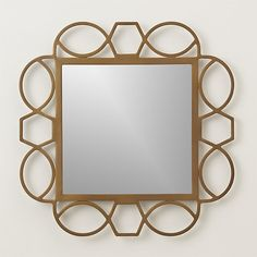 Fretwork Brass Square Wall Mirror | Crate and Barrel